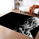 NO/A Alfombra 3D cráneo Abstracto Alfombra Sala de Estar Dormitorio Alfombra de Gran tamaño Comedor niños Cocina Estera Sala de Estar Alfombra del Piso Corredor hogar (EK-XKY021, 152x244cm)