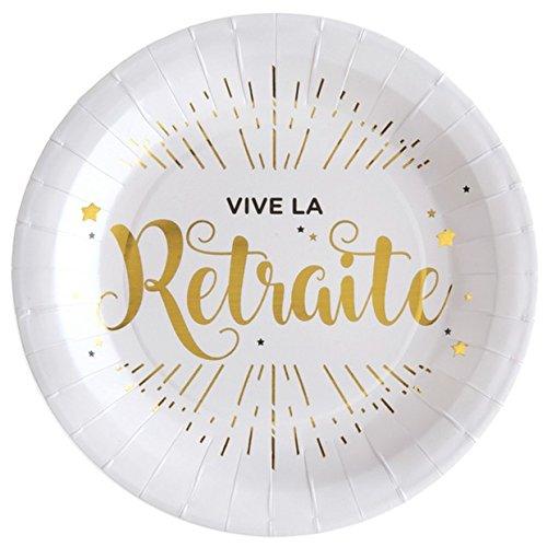Chal - 10 Assiettes Vive la Retraite blanc et or