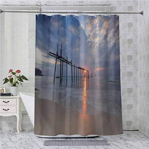 Cortinas de ducha, rayos de sol y puente viejo en Pilai Beach Sunset Tailandia Tropical Seascape Picture, 84 pulgadas de largo accesorios de baño, gris beige