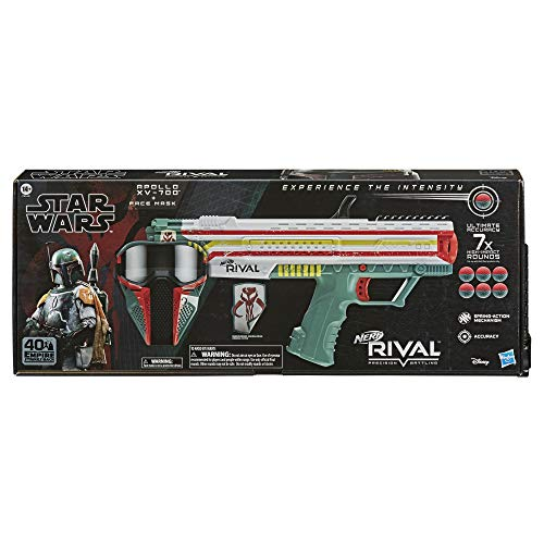 NERF Rival Star Wars Apollo XV-700 Blaster, Face Mask, Boba Fett Insignia Patch, 7 Rival Rounds, Easy-Load Magazine