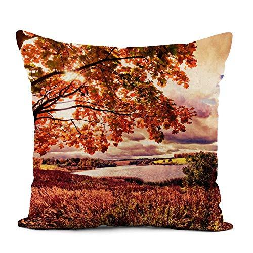 Funda de almohada de lino Hermoso paisaje otoñal en color rosa Fantástico otoño Fabuloso campo de hadas Bosque Decoración para el hogar Funda de almohada Funda de almohada cuadrada Funda de cojín para