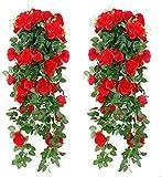 Cuisit 2 Stück Kunstblumen Künstliche Rose Hängend Girlande Gefälschte Blume, Balkon Dekoration Wandbehang Seidenblume für Büro, Zuhause, Party, Hochzeit Dekor