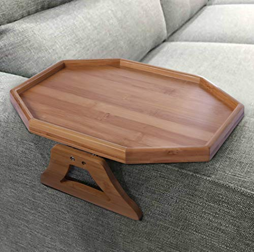 Xchouxer Side Tables Natural Bamboo Sofa Armrest Clip-On Tray, Ideal for Remote/Drinks/Phone