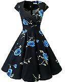 bbonlinedress Women's 50s 60s A Line Rockabilly Dress Cap Sleeve Floral Vintage Swing Party Dress Black Blue Brose 2XL