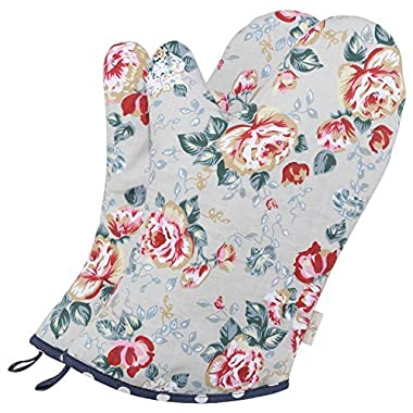 Neoviva Cotton Quilt Oven Mitt for Adult, Pack of 2, Floral Quarry Bloom