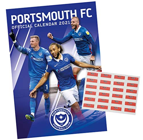 Portsmouth A3 Wall Calendar 2021 with Organisational Stickers Bundle, Great Gift