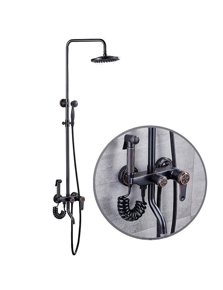 不潔行為トムオードリースハンドシャワー付ブラックレトロシャワー、ファミリー浴室のシャワーセット、バスルームアクセサリー、 (Color : A)