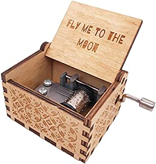 SIQI Fly Me to The Moon Music Box 18 Note Hand Crank Musical Box Engraved Wood Music Box Gifts, Plays Fly Me to The Moon