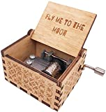 Fly Me to The Moon Mini Wood Music Box Hand Crank Antique Engraved Small Musical Gifts for Christmas Birthday Anniversary, Tiny Home Room Decorations, Plays Fly Me to The Moon