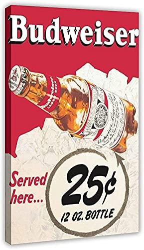 Lienzo De Impresión PóSter Y Estampados Budweiser Sprout Beer Botella de cerveza Decoración Imagen impresa para la decoración del dormitorio de la sala de estar60 * 90cm Sin Marco