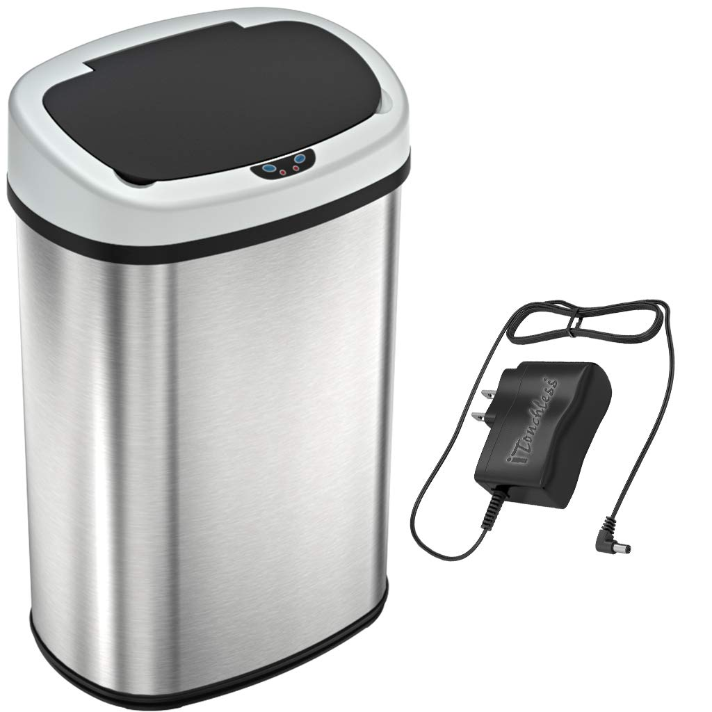SensorCan 13 Gallon Battery-FREE Automatic Sensor Kitchen Trash Can with Power Adapter, Oval Shape Stainless Steel Garbage...