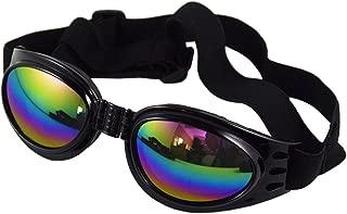 ligangam 犬眼鏡 ゴーグル 愛犬のメガネ UV加工 紫外線対策 折り畳み式 犬用ゴーグル ゴールデン・レトリバー/サモエド等大型犬対応 おしゃれ クール (ブラック)