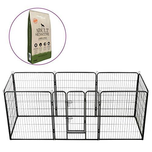 vidaXL Laufstall und Trockenfutter für Hunde, Käfig, Freigehege