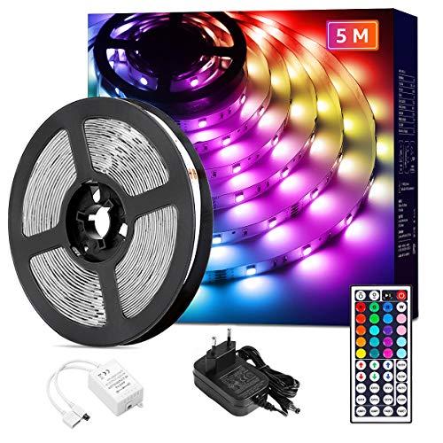 Lepro LED Strip 5M, LED Streifen Lichterkette mit Fernbedienung, Band Lichter, RGB Dimmbar Lichtleiste Light, Lichtband Leiste, Bunt Kette für Party Weihnachten Deko