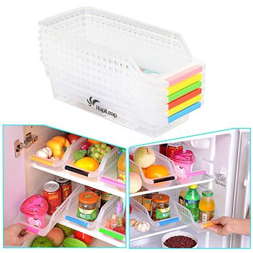HapiLeap Kühlschrank Storage Organizer - Kühlschrank Aufbewahrungsbox Schubladen Pantry Container Stackable Kühlschrank Container - Perfekt für kleine Gewürze, Milchprodukte (6 Pack)