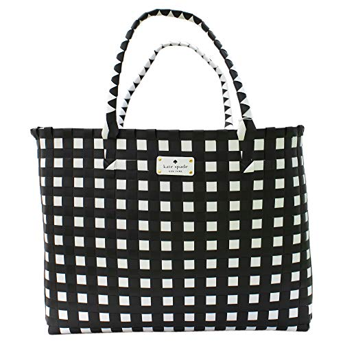 Kate Spade - Tote Hand Bag, Bolsa de mano trenzada hecha a Negro-Blanco para mujer 1 pieza Mujer, Blanco negro, Medium