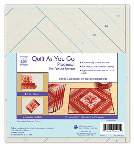 June Tailor, Inc. Go Plcmt Casb Quilt by Number Printed Batting Finished Size of one placemat - 8 1/2