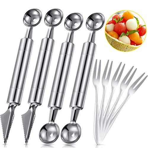 Juego de 9 cucharas de melón de doble cara para melón y frutas, cortador de acero inoxidable, tenedores de frutas, tenedores de postre para manualidades, frutas y helados
