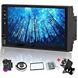 Camecho Android 9.0 Double Din Touchscreen 7 inch Car Stereo with Bluetooth Support GPS/USB/AUX-in/SD/FM Radio/WiFi Connected+iOS/Android iPhone Mirror Link+Backup Camera& Steering Wheel Control