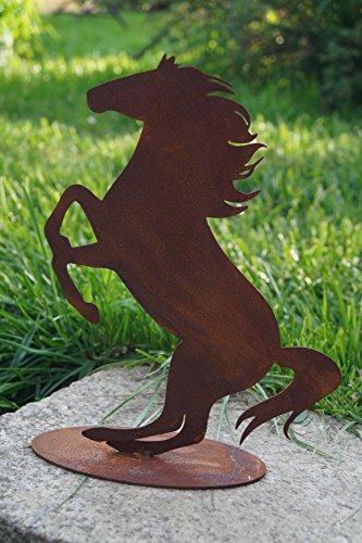 BADEKO Edelrost Pferd springend auf Bodenplatte 25x23cm Metall Gartendekoration