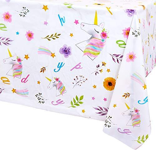 WERNNSAI Unicorno Tovaglia di Compleanno - 4 Pezzi 132 x 220 cm Tovaglia Monouso in Plastica Tema di Unicorno Compleanno Forniture per Feste per Ragazze Bambini Rettangolare Decorazione della Tavola