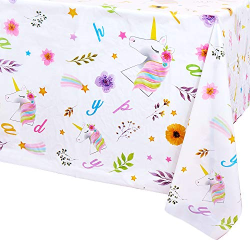 WERNNSAI Einhorn Geburtstags Tischdecke - 2 Stück 132 x 220 cm Einweg Tischdecken aus Kunststoff Einhorn Thema Geburtstag Partyzubehör für Mädchen Kinder Rechteckige Tischdekoration