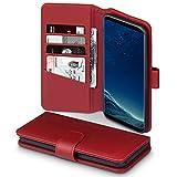 TERRAPIN, Kompatibel mit Samsung Galaxy S8 Plus Hülle, Premium ECHT Leder Flip Handyhülle Samsung Galaxy S8 Plus Tasche Schutzhülle - Rot