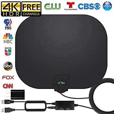 HDTV Antenna, 2020 Newest Indoor Digital TV Antenna 130+ Miles Long Range with Amplifier Signal Booster 4K HD Free Local Channels Support All Television, 17ft Coax Cable