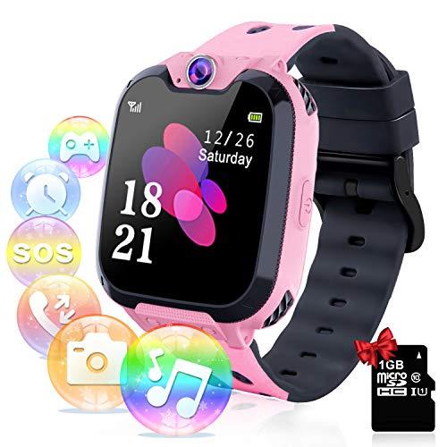 YENISEY Relojes para Niños - Música Smartwatch para Niños Niña Game Watch (Tarjeta SD de 1GB incluida Pantalla táctil Relojes Inteligentes con Llamada Juego Cámara Música (Rosa)