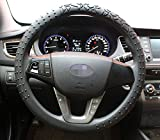 Silicone Steering Wheel Cover,Non-Slip and Sweat Absorbent, Universal 14 to 15 inches (Black)