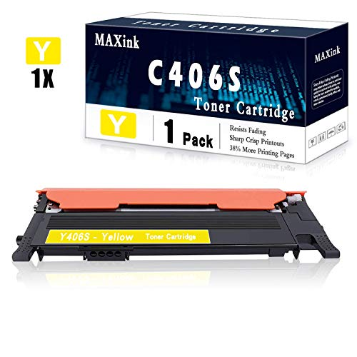 1 Pack Yellow CLT-Y406S Toner Cartridge Replacement for Samsung C46x C41x C410W C460W C460FW C412W C413W C462W/FW C463W/FW CLP: 365 365W 360 CLX 330x 3300 3305 3305W 3305FW 3305FN Series Printer