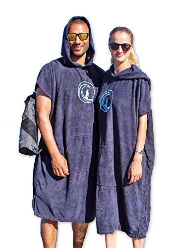 Penguin Poncho - Surf Poncho mit Kapuze, Bauchtasche und Tragebeutel - Bademantel, Umkleide und Badetuch, Umkleidehilfe, Einheitsgröße (S-XL) für Damen und Herren (Dark Blue)