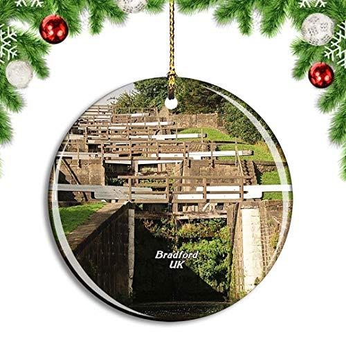 Weekino Großbritannien England Bradford Bingley Five Rise Locks Weihnachtsdekoration Christbaumkugel Hängender Weihnachtsbaum Anhänger Dekor City Travel Souvenir Collection Porzellan 2,85 Zoll