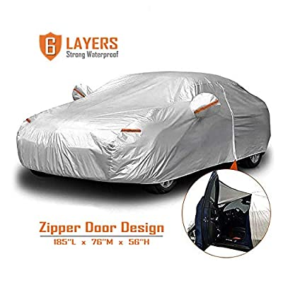 CARBABA Car Cover, Universal Full Car Covers with Zipper Door, 6 Layers All Weather Protection Waterproof/Windproof/Scratch Resistant/Reflective Strips for Sedan Wagon Use (179