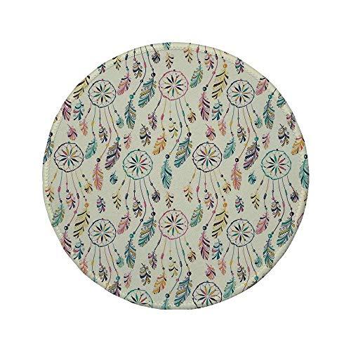 Rutschfreies Gummi-Rundmauspad indianisches buntes Set indischer Boho-Traumfänger in weichen Retro-Farben Schamanen-Symboldruck Multi 7,87 'x 7,87' x 3 mm