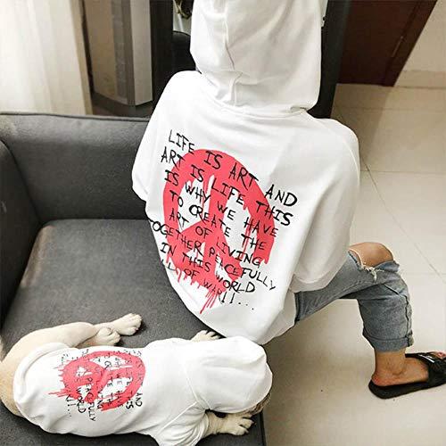FHKGCD Vêtements pour Animaux De Compagnie Chauds Manteau Bulldog Pet Hoodie Vêtements pour Chiens pour Chiens Costume Ropa Perro, Blanc, Propriétaire Taille Unique