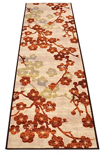 RugStylesOnline Custom Size Runner Flower Blossom Scroll Floral Design Roll Runner 26 Inch Wide x Your Length Size Choice Slip Skid Resistant Rubber Back (Cream Multi Color, 26 ft x 26 in)