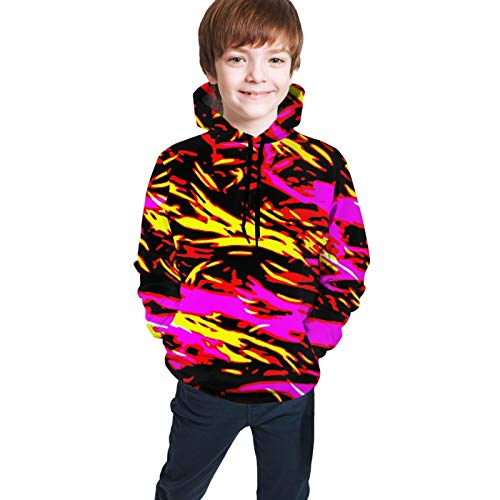Youth Hooded Sweater Trippy Tiger Skins Fashion 3D Print Sweater Crewneck for Boys Girls Black