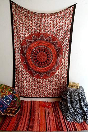 MY DREAM CARTS Laheriya - Tapiz Indio para Colgar en la Pared, diseño de Mandala de Pavo Real Bohemio psicodélico
