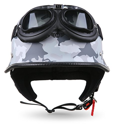 "Moto Helmets® D33-Set ""Army Snow"" · Brain-Cap · Halbschale Jet-Helm Motorrad-Helm Roller-Helm Scooter-Helm Bobber Mofa-Helm Chopper Retro Cruiser Vintage Pilot Biker Helmet Brille · XL (61-62cm)"