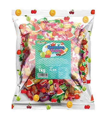 Tise Süsswaren Soft Kaubonbons Fruchtmix Wassermelone Kirsche Apfel Orange Himbeere Wurfmaterial Karneval Giveaway, 125 Stück