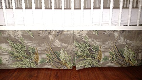 Camouflage crib skirt. Baby boy bedding, real trees camouflage, tailored, pleat in the middle 4 sides 15' long; Fits toddlers beds, nursery decor