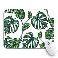 NINEHASA 可愛いマウスパッド 緑の熱帯の葉ジャングルリーフモンステラツリー花柄ノンスリップゴムバッキングコンピューターマウスパッド用ノートブックマウスマット