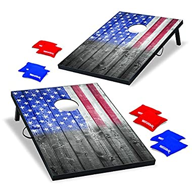 Wild Sports 2'x3' Cornhole Outdoor Game Set, USA Flag MDF Wood with all-weather bean bags included – perfect for…