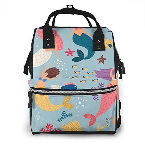 UUwant Sac à Dos à Couches pour Maman Large Capacity Diaper Backpack Travel Manager Baby Care Replacement Bag Nappy Bags Mummy BackpackMermaid Girl Image Underwater World
