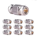 10PCS N-Female to N-Female Connector RF Coax Cable Adapter Barrel Connectors Double Female Connector Plug by XRDS-RF(NOT for TV)