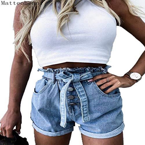 Sommer Frauen Mode Sexy Crimped Button Denim Shorts Mit Gürtel Vintage Hohe Taille Sexy Lässig Heiße Kurze Jeans Streetwear L Hellblau