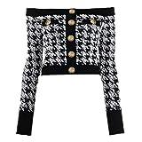 NOBRAND Chaqueta de diseñador para mujer con botones de león y cremallera en la parte trasera del cuello de tweed de pata de gallo 1 color M