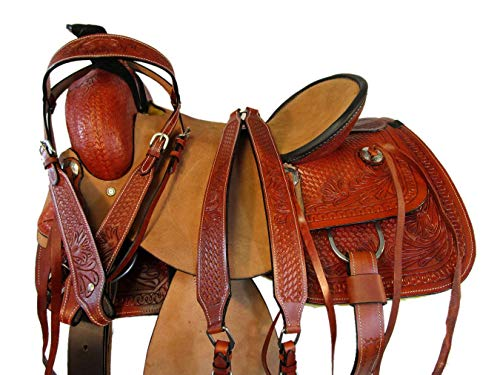 Working Horse Saddle Pleasure Trail Tooled Leather Ranch Roping TACK Set 15 16 17 (17')
