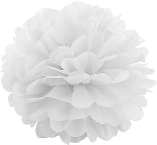 comprar comparacion JZK 10 x Blanco pompones de papel 25 cm decoracion flores pom pom para boda cumpleaños fiesta comunión bautismo graduado d...